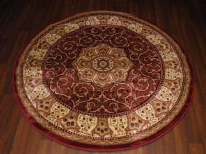 STUNNING 140CMX140CM CIRCLE RUGS WOVEN&CARVED ROYAL RANGE TOP QUALITY BEIGE/RED